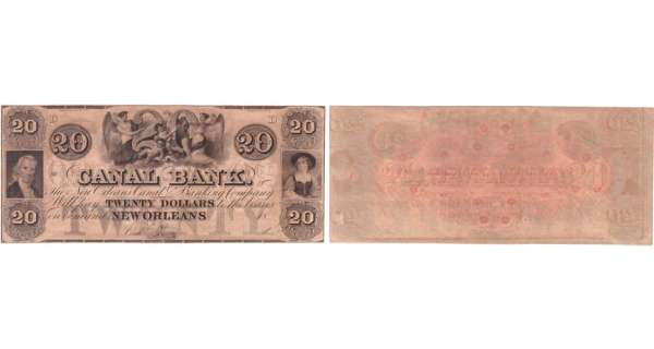 Etats-Unis - Bank Note - Obsolete currency - Louisiana (New Orleans), Canal bank - 20 dollars 18-- série D