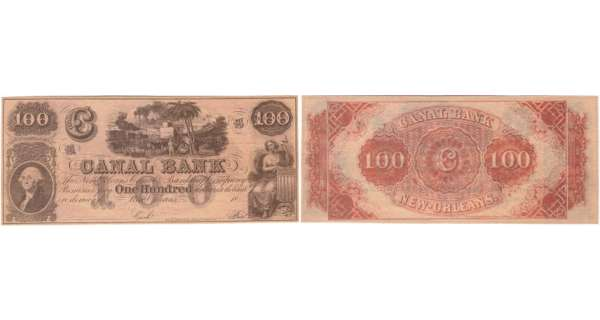 Etats-Unis - Bank Note - Obsolete currency - Louisiana (New Orleans), Canal bank - 100 dollars 18-- série B
