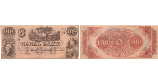 Etats-Unis - Bank Note - Obsolete currency - Louisiana (New Orleans), Canal bank - 100 dollars 18-- série D