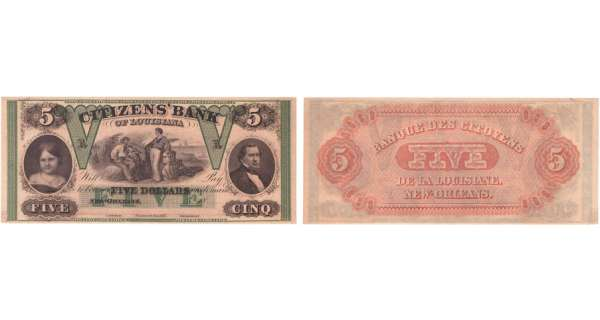 Etats-Unis - Bank Note - Obsolete currency - Louisiana (New Orleans), Citizens' bank - 5 dollars 18-- série A
