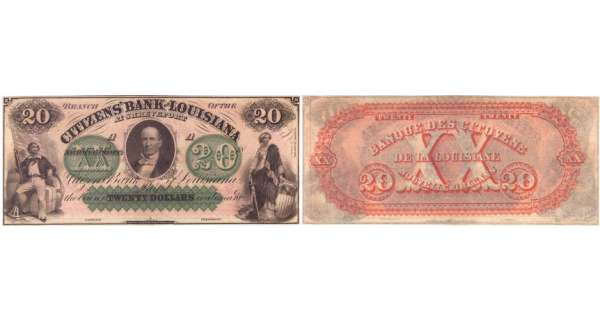 Etats-Unis - Bank Note - Obsolete currency - Louisiana (New Orleans), Citizens' bank - 20 dollars 18-- série A