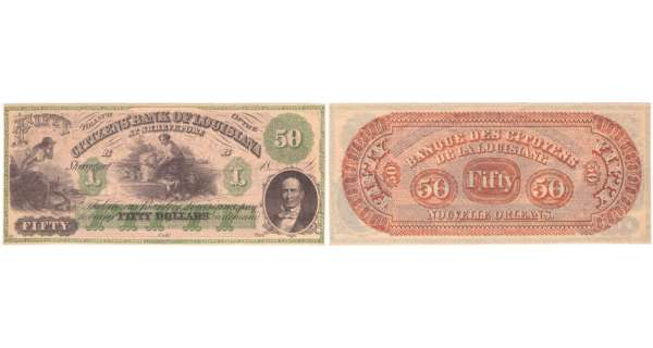 Etats-Unis - Bank Note - Obsolete currency - Louisiana (New Orleans), Citizens' bank - 50 dollars 18-- série B