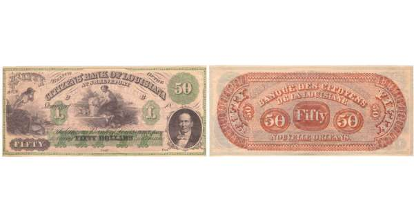 Etats-Unis - Bank Note - Obsolete currency - Louisiana (New Orleans), Citizens' bank - 50 dollars 18-- série C