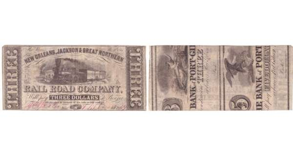 Etats-Unis - Bank Note - Obsolete currency - Louisiana (New Orleans), New Orleans Jackson & Great Northern, Rail Road Co - 3 dollars Novembre 16th 1861