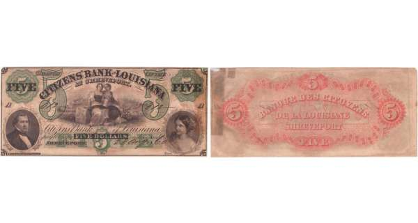 Etats-Unis - Bank Note - Obsolete currency - Louisiana (Shreveport), Citizens' bank - 5 dollars August 23th 1860