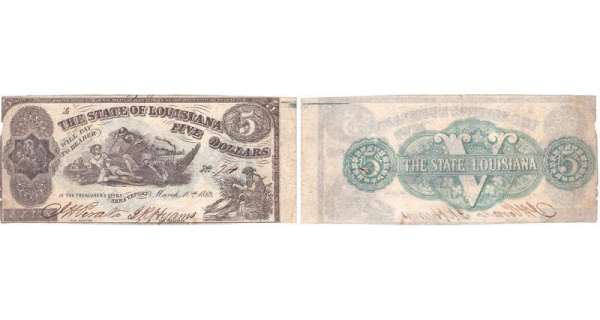 Etats-Unis - Bank Note - Obsolete currency - Louisiana (Shreveport), State of Louisiane - 5 dollars March 10th 1863