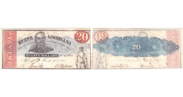 Etats-Unis - Bank Note - Obsolete currency - Louisiana (Shreveport), State of Louisiane - 20 dollars March 10th 1863