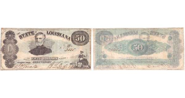 Etats-Unis - Bank Note - Obsolete currency - Louisiana (Shreveport), State of Louisiane - 50 dollars March 10th 1863