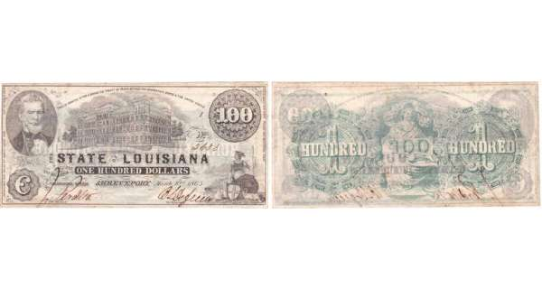 Etats-Unis - Bank Note - Obsolete currency - Louisiana (Shreveport), State of Louisiane - 100 dollars March 10th 1863