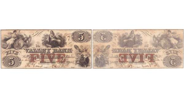 Etats-Unis - Bank Note - Obsolete currency - Maryland (Hagerstown), The Valley Bank -5 dollars May 31th 1855