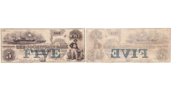 Etats-Unis - Bank Note - Obsolete currency - Massachusstes (Boston), The Cochituate Bank - 5 dollars January 1st 1853
