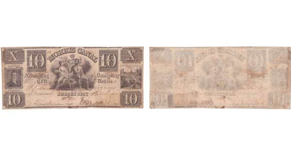 Etats-Unis - Bank Note - Obsolete currency - New Jersey (Jersey city), Morris Canal & Banking - 10 dollars 1838