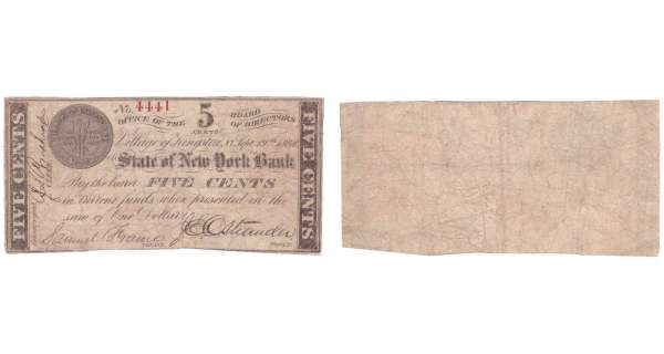 Etats-Unis - Bank Note - Obsolete currency - New York (Kingston Village), State of New York Bank - 5 cents September 19th 1862