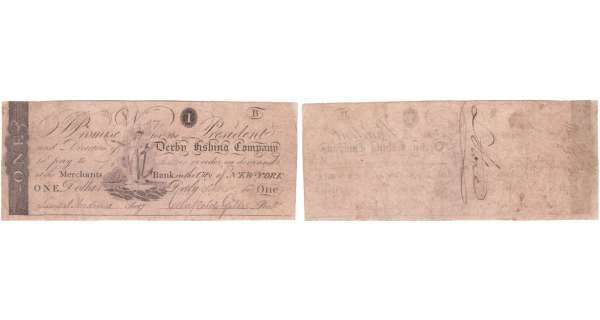 Etats-Unis - Bank Note - Obsolete currency - New York (Derby), Derby Fishing Company - 1 dollar September 1st 1808
