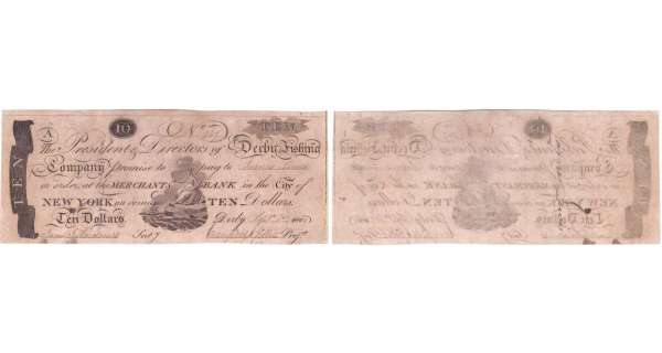 Etats-Unis - Bank Note - Obsolete currency - New York (Derby), Derby Fishing Company - 10 dollars September 1st 1808