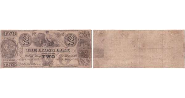 Etats-Unis - Bank Note - Obsolete currency - New York (Lyons), Lyons Bank - 2 dollars January 1st 1862