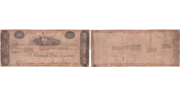 Etats-Unis - Bank Note - Obsolete currency - Pennsylvania (Harmon), Harmony Institute - 10 dollars August 1817