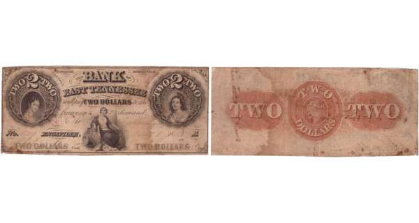 Etats-Unis - Bank Note - Obsolete currency - Tennessee (Knoxville), Bank of East Tennessee - 2 dollars 1835