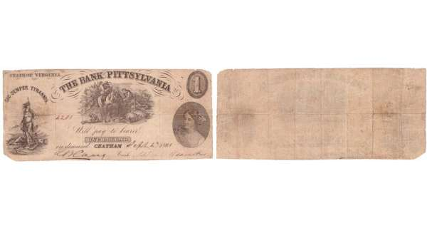 Etats-Unis - Bank Note - Obsolete currency - Virgina (Chatam), Bank of Pittsylvania - 1 dollar September 4th 1861