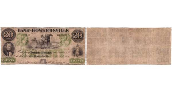Etats-Unis - Bank Note - Obsolete currency - Virgina (Howardsville), Bank of Howardsville - 20 dollars 1861