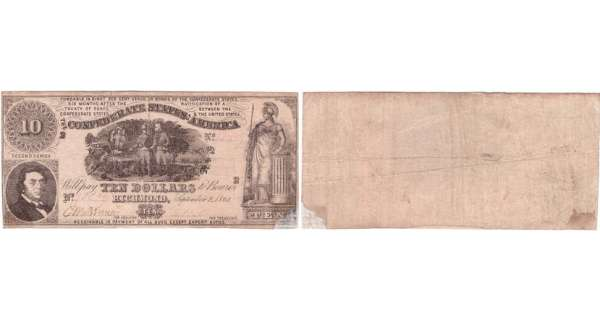 Etats-Unis - Bank Note - Confederate currency - Virgina (Richmond), Confederate States of America - 10 dollars September 2nd 1861