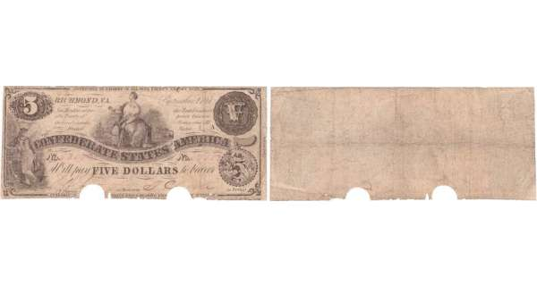 Etats-Unis - Bank Note - Confederate currency - Virgina (Richmond), Confederate States of America - 5 dollars September 2nd 1861