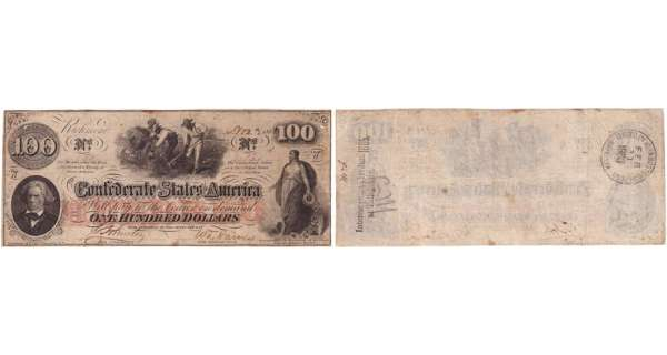 Etats-Unis - Bank Note - Confederate currency - Virgina (Richmond), Confederate States of America - 100 dollars November 3th 1862