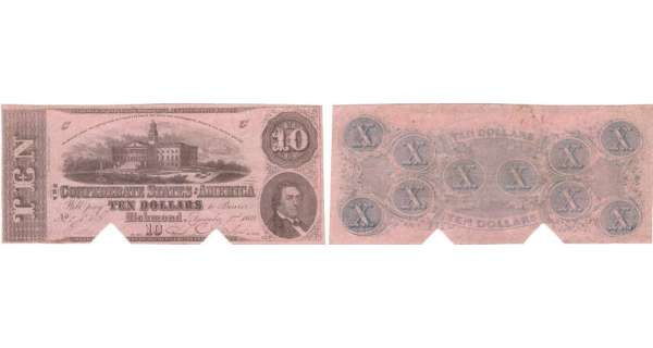 Etats-Unis - Bank Note - Confederate currency - Virgina (Richmond), Confederate States of America - 10 dollars December 2nd 1862