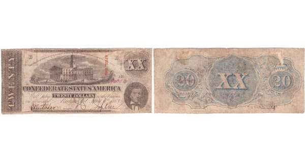 Etats-Unis - Bank Note - Confederate currency - Virgina (Richmond), Confederate States of America - 20 dollars April 6th 1863