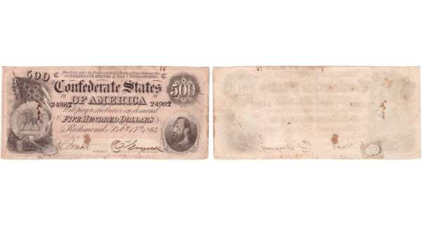 Etats-Unis - Bank Note - Confederate currency - Virgina (Richmond), Confederate States of America - 500 dollars February 17th 1864