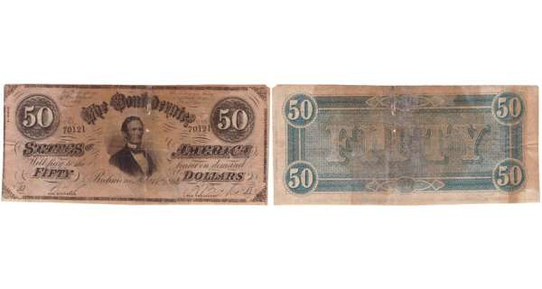 Etats-Unis - Bank Note - Confederate currency - Virgina (Richmond), Confederate States of America - 50 dollars Fabruary 17th 1864
