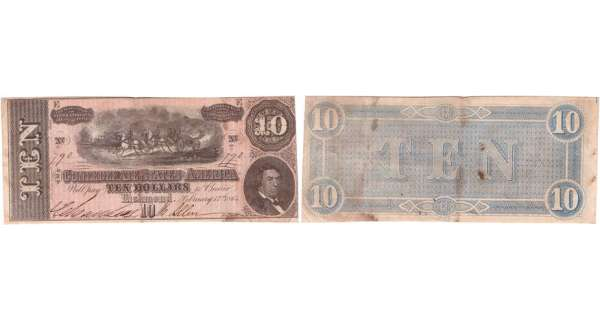 Etats-Unis - Bank Note - Confederate currency - Virgina (Richmond), Confederate States of America - 10 dollars Fabruary 17th 1864