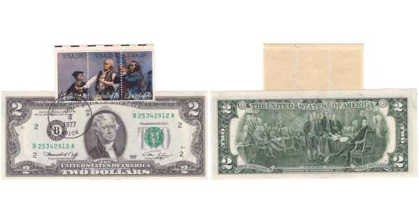 Etats-Unis - Bank Note - United States Notes - 2 dollars serie 1976 avec timbre premier jour July 4th 1977