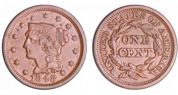 Etats-Unis - Cent, Braided hair 1848
