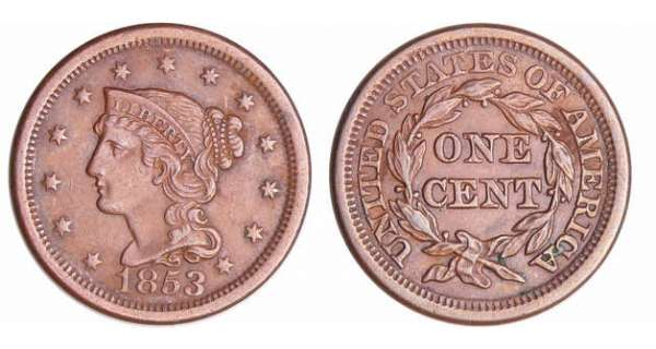 Etats-Unis - Cent, Braided hair 1853