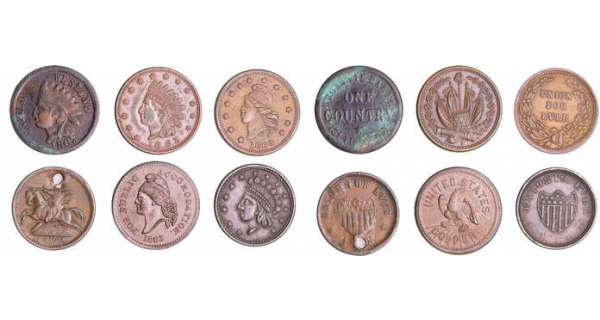Etats-Unis - Civil war token - Lot de 6 one cent 1861-1863