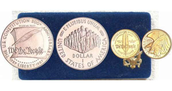Etats-Unis - Coffret  Bicentenial of the Constitution,  5 Dollars 1987 W, West Point et silver dollars 1987 S Bicentenial of the Constitution