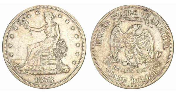 Etats-Unis - Dollar Seated Liberty 1878 S A/ La Liberté assise. R/ Aigle de face.
