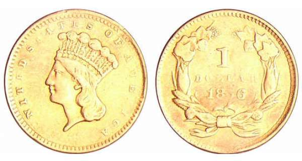 Etats-Unis - Gold dollar Indian Princess head 1856