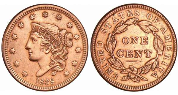 Etats-Unis - Large cent 1838