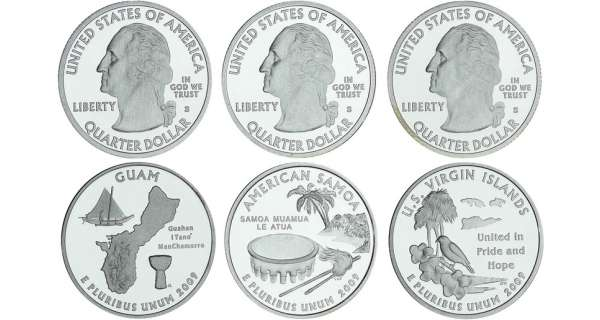 Etats-Unis - Lots de 3 - Quarter dollar 2009 S