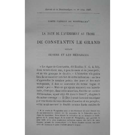 Etude sur le monnayage de Constantin le Grand par le Comte C de Westphalen - 1887