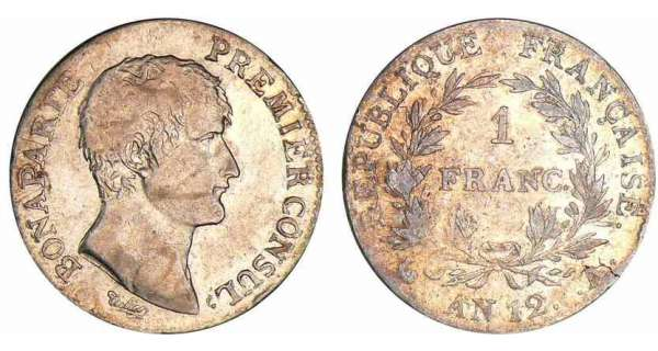 1 franc Bonaparte premier consul - An 12 A (Paris)