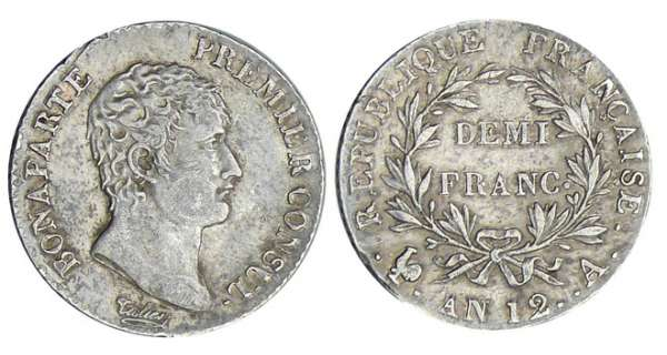 1/2 franc Bonaparte premier consul - An 12 A (Paris)
