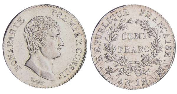 1/2 franc Bonaparte premier consul - An 12 MA (Marseille)