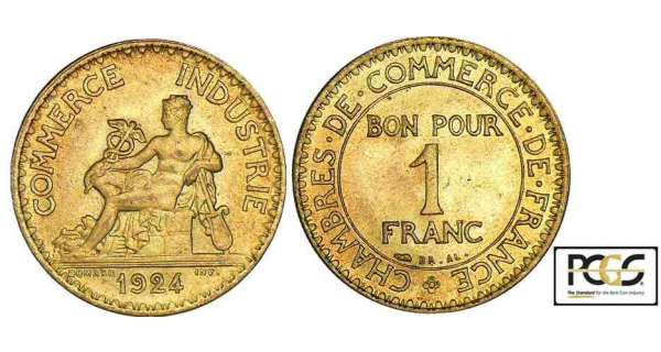Historia de monedas 1 franco 1924 chambre de commerce for Chambre de commerce franco egyptienne