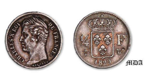 1/4 franc Charles X 1829 W (Lille)
