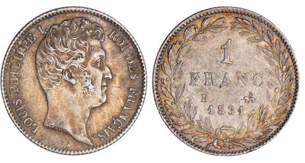 1 franc Louis-Philippe Ier - tte nue - 1831 B (Rouen)