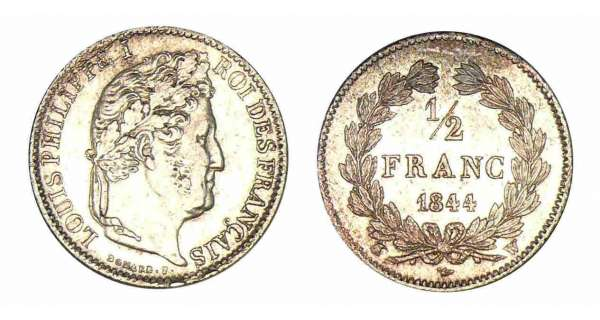 1/2 franc Louis-Philippe Ier 1844 W (Lille)