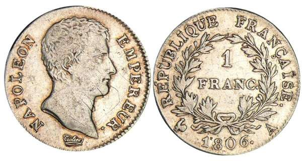 1 franc Napolon empereur - 1806 A (Paris)